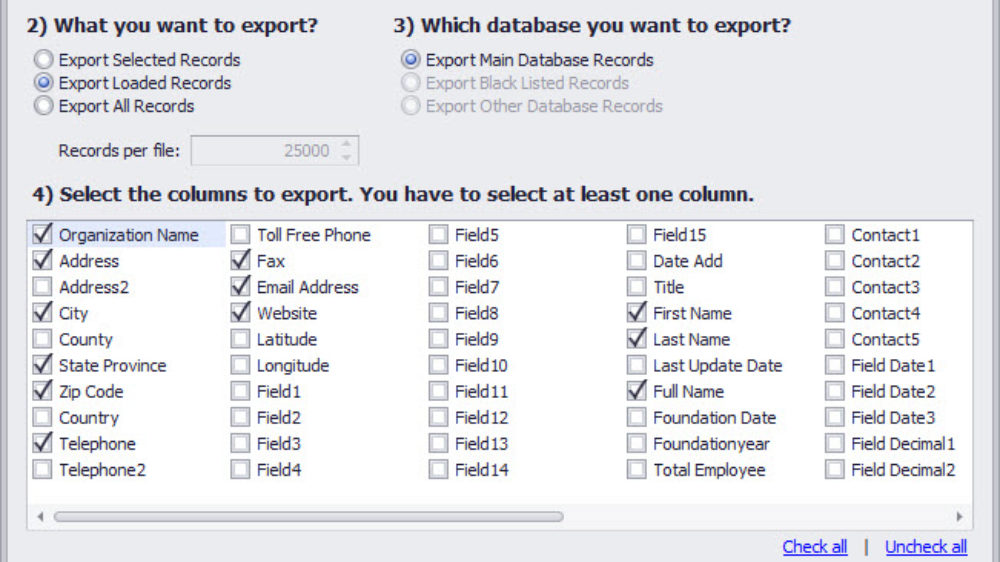 Data cleansing and matching software export wizard